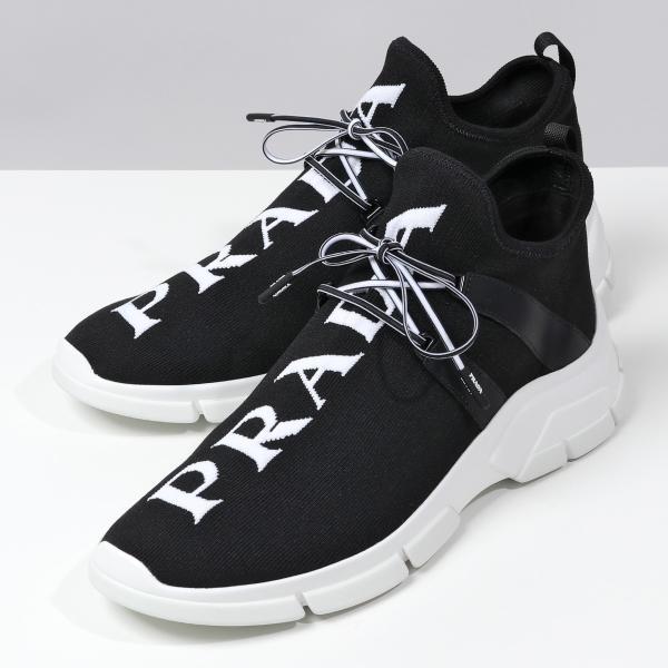 2,000円OFFクーポン対象 11日  PRADAプラダ4E34923V98ニットファブリックスニーカーレースアップシューズ靴
