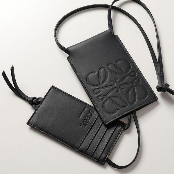 LOEWE ロエベ C500G14X01 レザー スライディング ネックストラップ付き カードホルダー カードケース アナグラム 5440/MIDNIGHT-BLUE メンズ