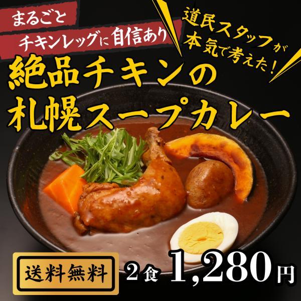 絶品チキンの札幌スープカレー2食セットスープカレーレトルト人気スパイスカレーチキンレッグ北海道保存食非常食おとりよせグルメ
