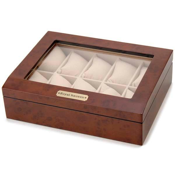 Royal hausen ロイヤルハウゼン 時計収納ケース 腕時計時計コレクションケース ディスプレイケース 木製 ブラウン 10本用 時計雑貨 新品 s-select