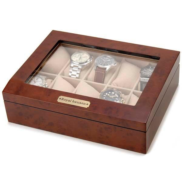 Royal hausen ロイヤルハウゼン 時計収納ケース 腕時計時計コレクションケース ディスプレイケース 木製 ブラウン 10本用 時計雑貨 新品 s-select 03