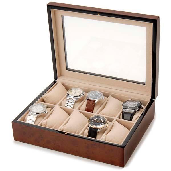 Royal hausen ロイヤルハウゼン 時計収納ケース 腕時計時計コレクションケース ディスプレイケース 木製 ブラウン 10本用 時計雑貨 新品 s-select 04