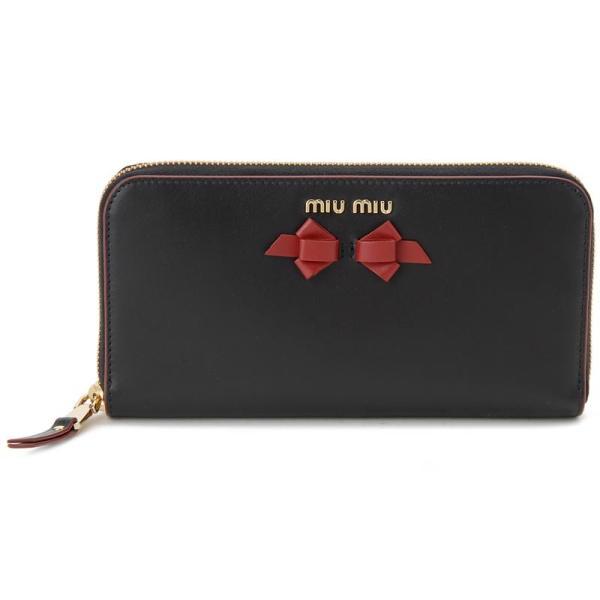 ミュウミュウ MIU MIU ラウンドファスナー 長財布 5ML506 UEI F0D9A 本革 リボン 財布 ブラック レディース 新品 【送料無料】 s-select