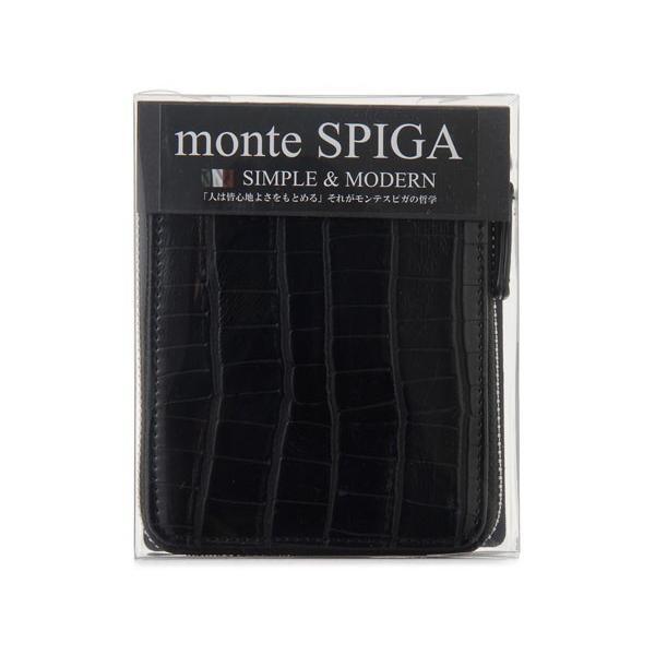 monte SPIGA モンテスピガ 二つ折り財布 MOSQS553BBK クロコ型押し ブラック メンズ|s-select|04
