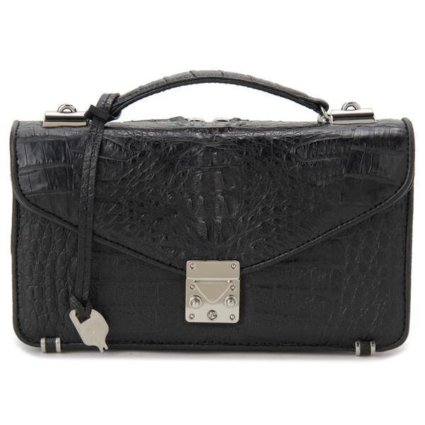 ワニ革 セカンドバッグ メンズバッグ カイマンワニ OKU0315HBKMT 財布一体型バッグ ブラック|s-select