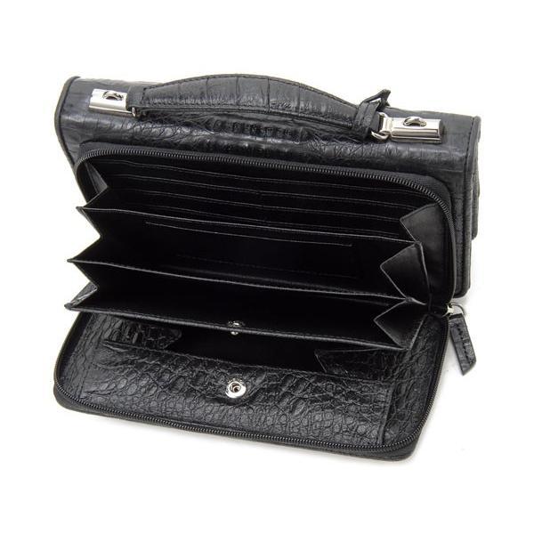 ワニ革 セカンドバッグ メンズバッグ カイマンワニ OKU0315HBKMT 財布一体型バッグ ブラック|s-select|05