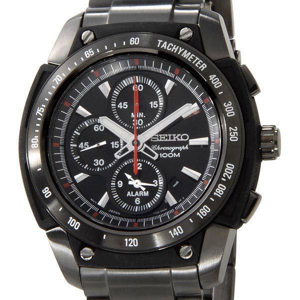 セイコーSEIKOメンズ腕時計SNAD49P1クロノグラフアラームブラック×ブラックセイコーウオッチブランド