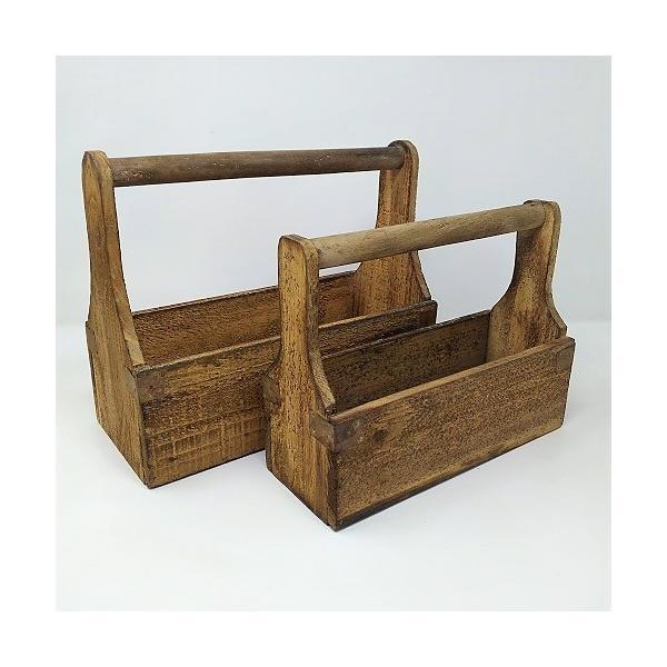 ハンドルウッドボックスSET2 ガーデニング 雑貨 プランター 木製 木箱 ウッドプランターガーデニング雑貨