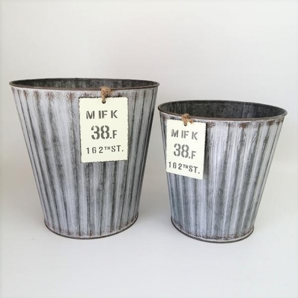 鉢 プランター ブリキ ブリキポット バケツ 植木鉢 鉢カバー ガーデニング雑貨 ウェイヴサークルSET2GY YZ-MH7689