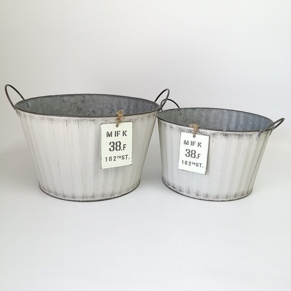 鉢 プランター ブリキ ブリキポット バケツ 植木鉢 鉢カバー ガーデニング雑貨 ウェイヴラウンドSET2WH YZ-MH7734