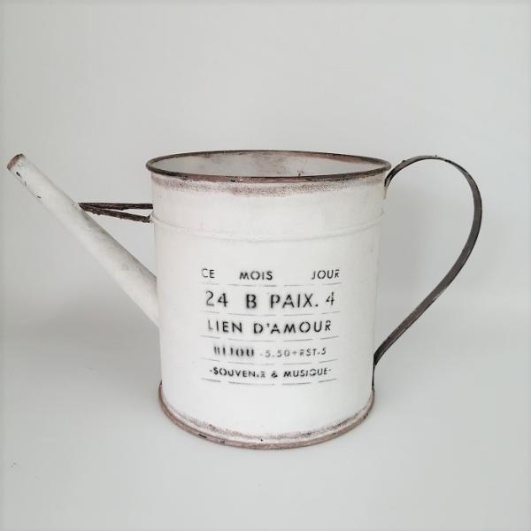 鉢 プランター ブリキ ブリキポット バケツ 植木鉢 鉢カバー ガーデニング雑貨 モアジュールジョーロWH YZ-UN1352