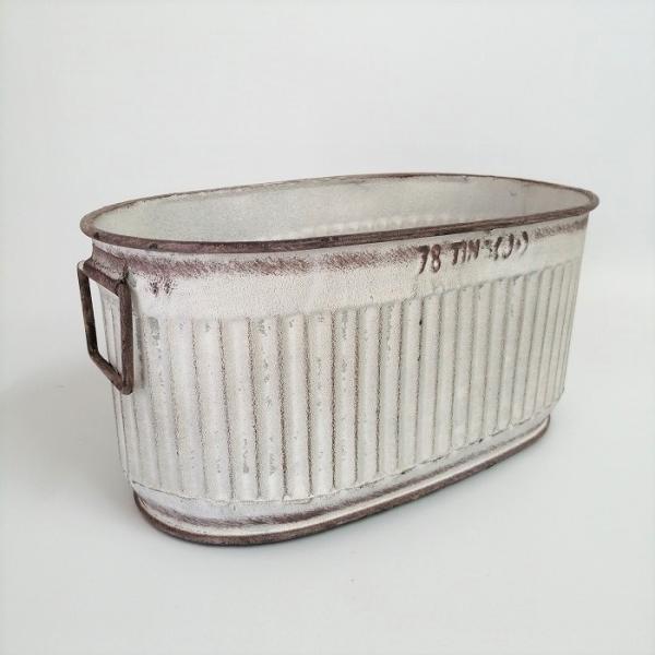 鉢 プランター ブリキ ブリキポット バケツ 植木鉢 鉢カバー ガーデニング雑貨 エタンオーバルWH YZ-UN1390