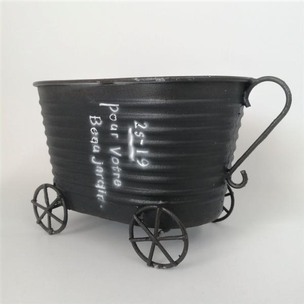 鉢 プランター ブリキ ブリキポット バケツ 植木鉢 鉢カバー ガーデニング雑貨 プルヴォートルカートBK YZ-UN847