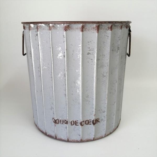 鉢 プランター ブリキ ブリキポット バケツ 植木鉢 鉢カバー ガーデニング雑貨 ロリエフポーサークルGY YZ-UN890