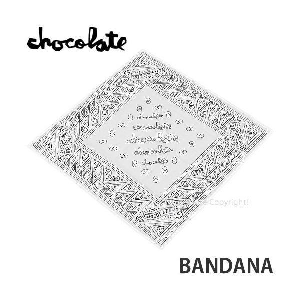 チョコレート バンダナ CHOCOLATE BANDANA ハンカチ アクセサリー スケートボード スケボー ストリート SKATEBOARD カラー:WHITE