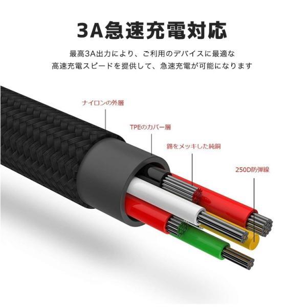 3in1ケーブル ライトニングケーブル Micro USB Type C ケーブル Baseus iPhone 充電ケーブル 3A急速充電 iPhone 8 8plus Macbook 1本3役 多機種対応 android|sabb|03