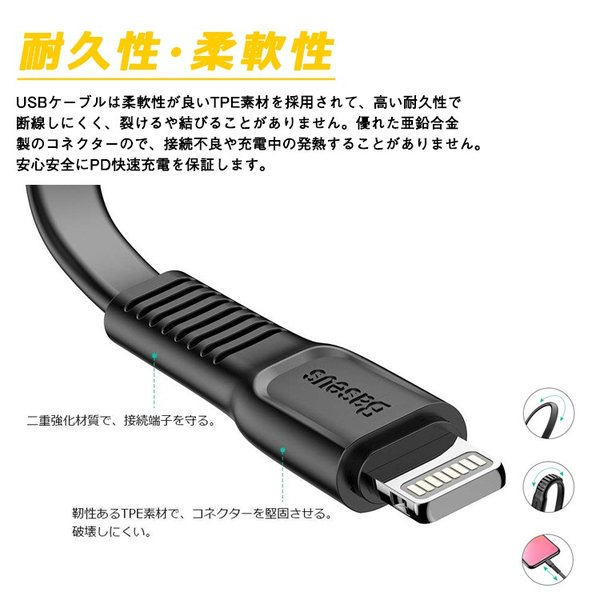 Baseus Type C Lightning ケーブル PD対応 変換ケーブル データ転送 iPhone 急速充電 iPhoneX PD対応|sabb|04