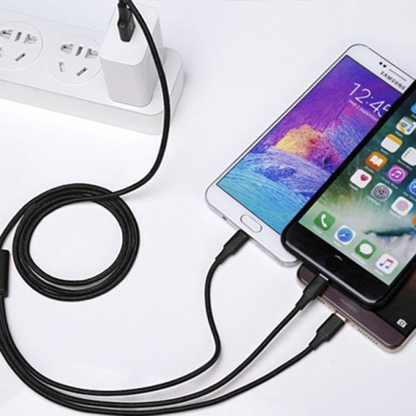 Lightning Micro USB Type-C 3in1 充電ケーブル 急速充電 ライトニングケーブル microusb アルミ ナイロン編み 充電ケーブルiPhoneX 8 7 Android Xpeira Galaxy|sabb|02