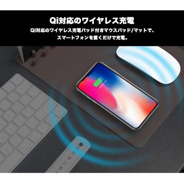 ワイヤレス充電器 マウスパッド ワイヤレス充電器 iphonex iphone8 galaxy note8 Qiレシーバー設置 ワイヤレス充電器 Android ケーブル 収納 ワイヤレス充電対応 sabb 03