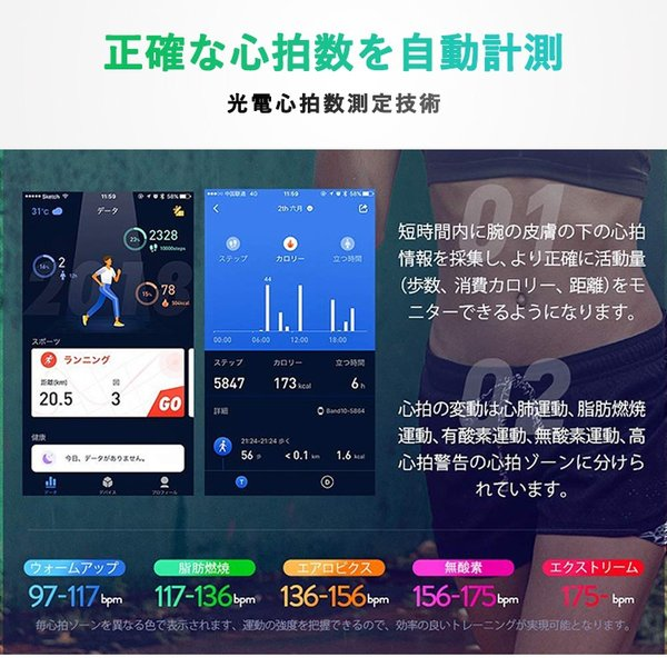 スマートウォッチ iWOWNfit i6 Pro-c 正規代理店 日本語対応 カラー 2018 フィットネス スマートブレスレット iPhone Android 自動測定 IP67 防水防塵 sabb 03