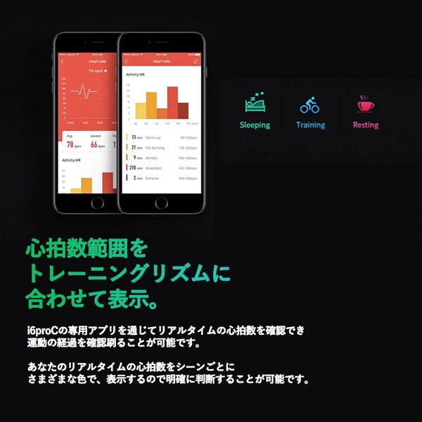 スマートウォッチ iWOWNfit i6 Pro-c 正規代理店 日本語対応 カラー 2018 フィットネス スマートブレスレット iPhone Android 自動測定 IP67 防水防塵 sabb 13