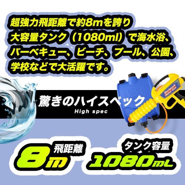 水鉄砲 リュック 背負うタイプ 超強力飛距離8m バックパック式のウォーターガン 大容量タンク型 1080ml 水ピストル 水遊び プール 水でっぽう 高性能 おもちゃ sabb 04