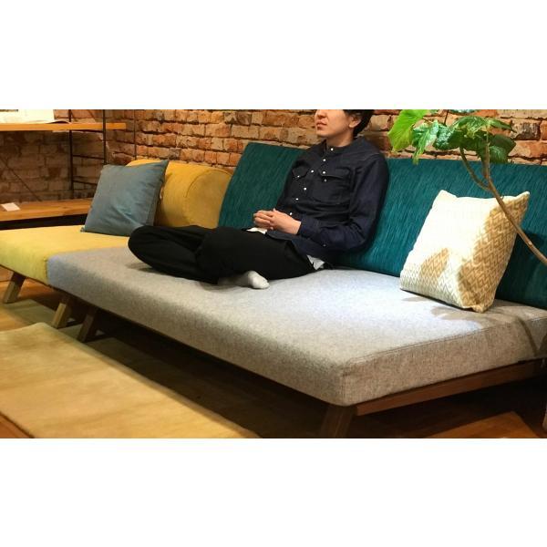 BM Sofa 3人掛けソファ 選べる背もたれフラットタイプ ローソファー ナラ無垢材|sabisabi-web|03