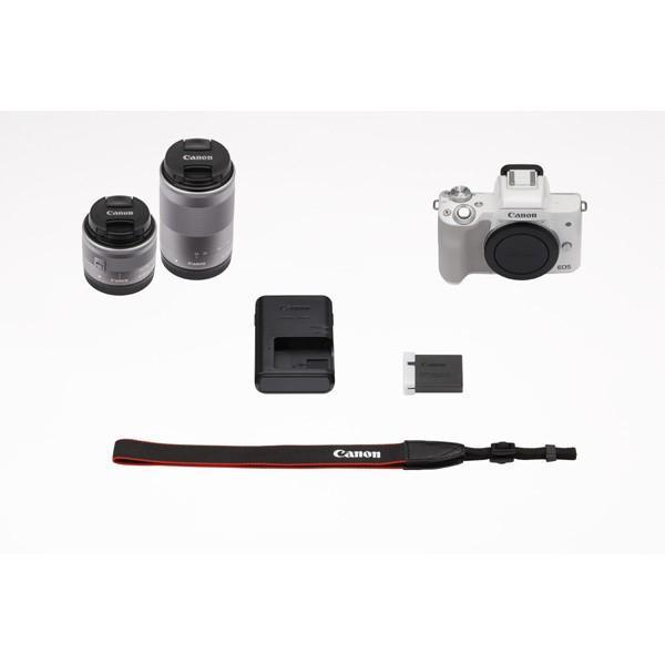 【選べるカメラバッグ】キヤノン(Canon) ミラーレス一眼 EOS Kiss M ダブルズームキット ホワイト|saedaonline|02