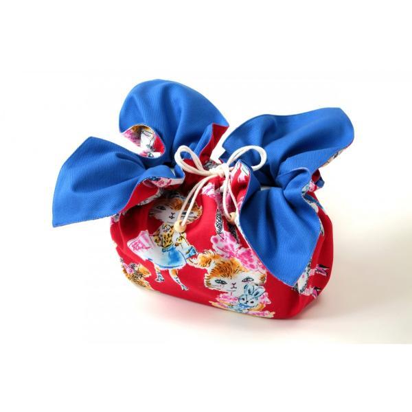 お弁当袋になっちゃう!!ランチクロス ファッション猫レッドソリッドブルー Lサイズ|safety-toilet|03