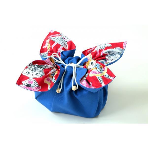 お弁当袋になっちゃう!!ランチクロス ファッション猫レッドソリッドブルー Lサイズ|safety-toilet|04