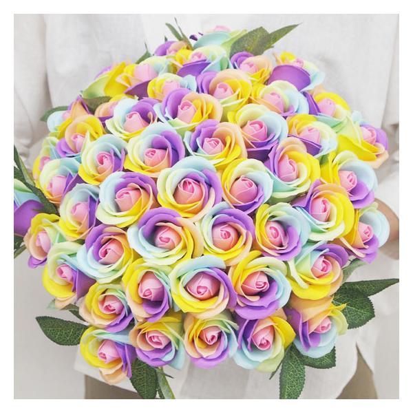 薔薇 花束 ソープフラワー レインボーローズ お好きな本数で選べる 本数指定OK 造花 ブーケ 記念日 誕生日 ギフト