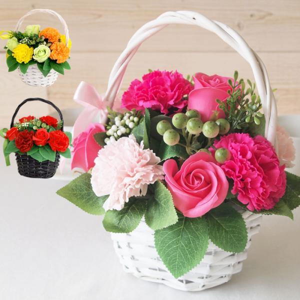 ソープフラワー 花かご ギフト プレゼント バスケット 誕生日 記念日 発表会 お祝い クリスマス|saika