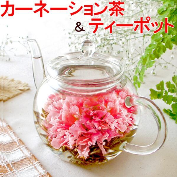 選べるスイーツ ティーポット カーネーション茶 タルト バウムクーヘン 工芸茶 誕生日プレゼント ギフト 母の日 花アレンジ スイーツ|saika