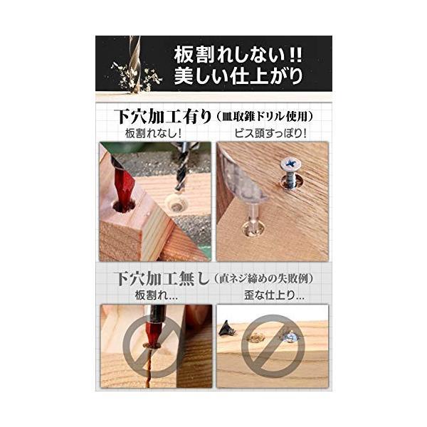 [アグロス] 皿取り錐 ドリル ビット 皿取錐 下穴錐 座ぐり 3 4 5 6 mm 4本セット (4本セット)|saikuron-com|03
