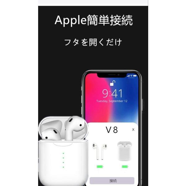 ブルートゥースイヤホン ワイヤレス AirPodsタイプ Bluetooth 5.0 iPhone Android対応 高音質 片耳 両耳通話 Hi Siri 対応 タッチ操作 超高音質|saixia9|02