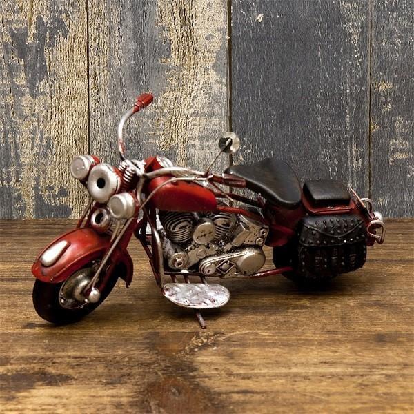 ヴィンテージカー ブリキおもちゃ バイク ハーレー 人気 オブジェ 模型  世田谷ベース ガレージグッズ/Old Bike(RED)|sakae-daikyo