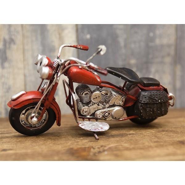 ヴィンテージカー ブリキおもちゃ バイク ハーレー 人気 オブジェ 模型  世田谷ベース ガレージグッズ/Old Bike(RED)|sakae-daikyo|02