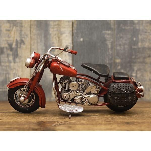 ヴィンテージカー ブリキおもちゃ バイク ハーレー 人気 オブジェ 模型  世田谷ベース ガレージグッズ/Old Bike(RED)|sakae-daikyo|03