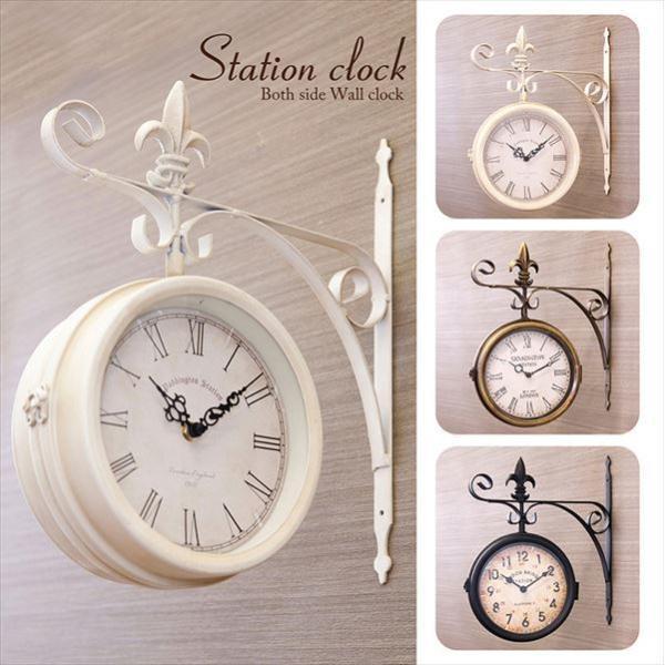 壁掛両面時計 掛時計 ウォールクロック アンティーク おしゃれ 駅 レトロ ビンテージ風〔ステーションクロック  ウォールL〕