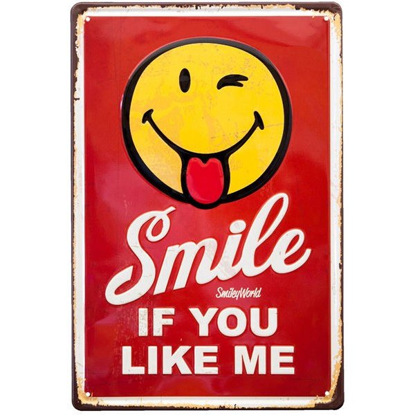 ブリキ看板 アンティーク スマイル スマイリー SMILE|sakae-daikyo