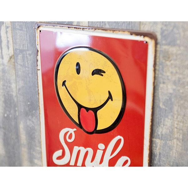 ブリキ看板 アンティーク スマイル スマイリー SMILE|sakae-daikyo|03