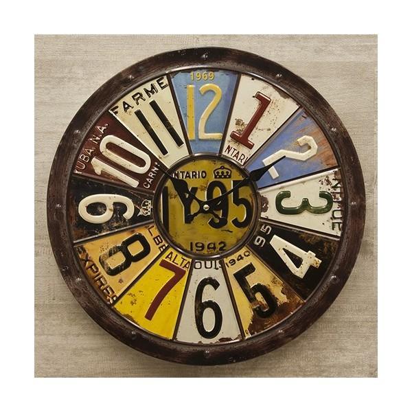 掛時計 掛け時計 大きい ビッグサイズ  アンティーク アメリカ雑貨 ビンテージクロック オールドアメリカン インテリア /ナンバープレートクロック|sakae-daikyo