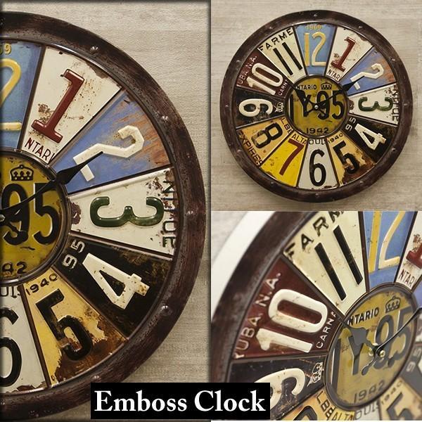 掛時計 掛け時計 大きい ビッグサイズ  アンティーク アメリカ雑貨 ビンテージクロック オールドアメリカン インテリア /ナンバープレートクロック|sakae-daikyo|02