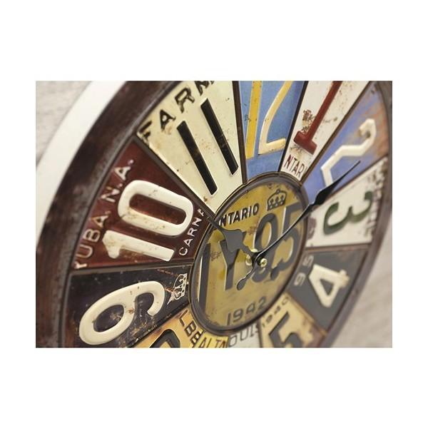 掛時計 掛け時計 大きい ビッグサイズ  アンティーク アメリカ雑貨 ビンテージクロック オールドアメリカン インテリア /ナンバープレートクロック|sakae-daikyo|03