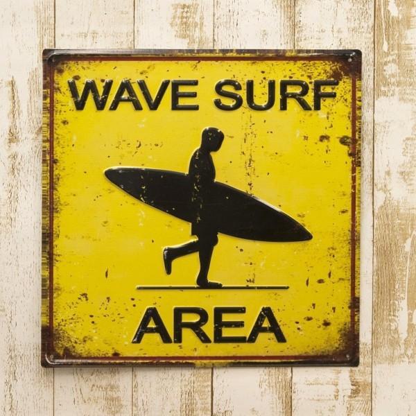 ブリキ看板 アンティーク エンボスプレート ウェーブサーフ アメリカ雑貨 サーフィン ハワイ [WAVE SURF AREA]|sakae-daikyo