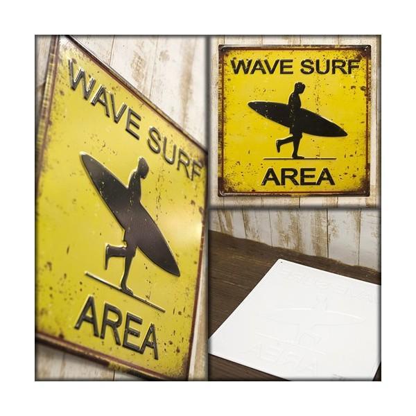 ブリキ看板 アンティーク エンボスプレート ウェーブサーフ アメリカ雑貨 サーフィン ハワイ [WAVE SURF AREA]|sakae-daikyo|02