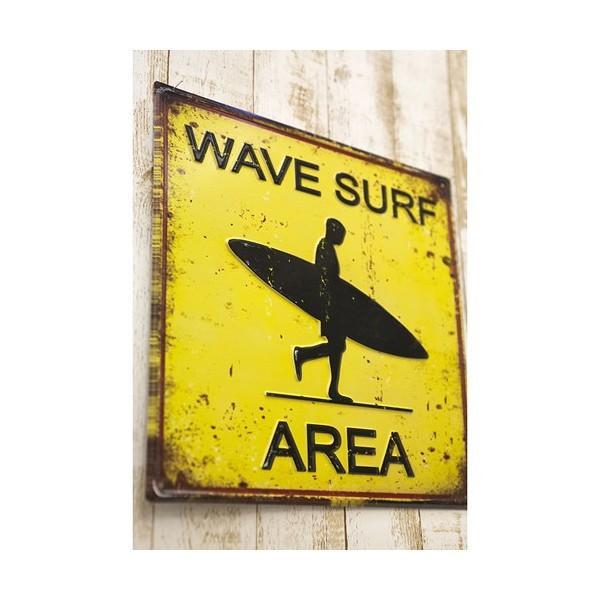 ブリキ看板 アンティーク エンボスプレート ウェーブサーフ アメリカ雑貨 サーフィン ハワイ [WAVE SURF AREA]|sakae-daikyo|03