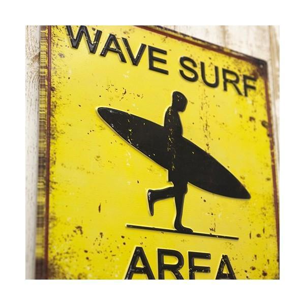 ブリキ看板 アンティーク エンボスプレート ウェーブサーフ アメリカ雑貨 サーフィン ハワイ [WAVE SURF AREA]|sakae-daikyo|04
