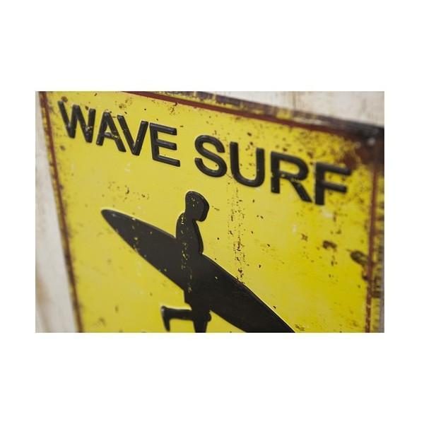 ブリキ看板 アンティーク エンボスプレート ウェーブサーフ アメリカ雑貨 サーフィン ハワイ [WAVE SURF AREA]|sakae-daikyo|05