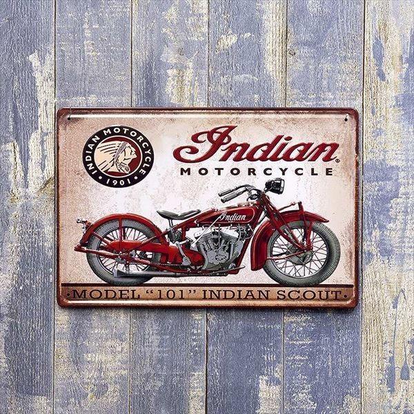 ブリキ看板 アメリカ雑貨 バイク ハーレー ガレージ 世田谷ベース モーターサイクル  サインプレート アメリカ看板 Indian|sakae-daikyo